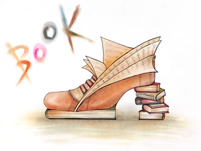 靴造形デザイン ◇佳作◇ 関守 亜美様 【作者コメント】 本のシルエットが好きで、 そのシルエットを使って靴をデザインしてみました。  本の中の物語のような、素敵な